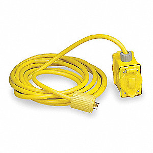 25 ft. 120VAC Indoor or Outdoor Extension Cord with Outlet Box, Yellow&#x3b; No. of Outlets: 2