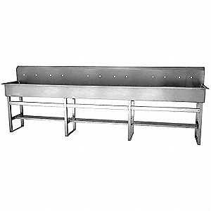 Stainless Steel Wash Station, Without Faucet, Floor Mounting Type, Silver