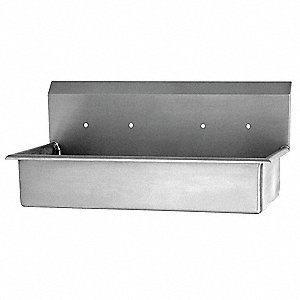 Stainless Steel Wash Station, Without Faucet, Wall Mounting Type, Silver
