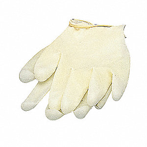 "9-1/2"" Powder Free Unlined Smooth Vinyl Disposable Gloves, White, Size M/L, 1PR"