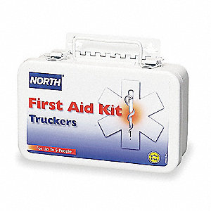 First Aid Kit, Kit, Steel Case Material, Vehicle, 5 People Served Per Kit