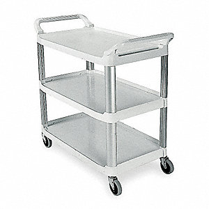 "40-3/8""L x 20""W Off-White Utility Cart, 300 lb. Load Capacity, Number of Shelves: 3"