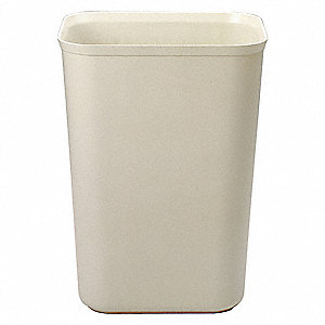 "10 gal. Rectangular Open Top Decorative Fire-Resistant Wastebasket, 20""H, Beige"
