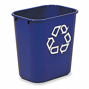 3-1/4 gal. Blue Desk-Side Recycling Container, Open Top