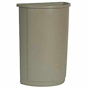 "Untouchable® 21 gal. Half-Round Open Top Trash Can, 28""H, Beige"