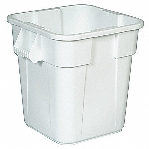"BRUTE® 28 gal. Square Open Top Utility Trash Can, 22-1/2""H, White"