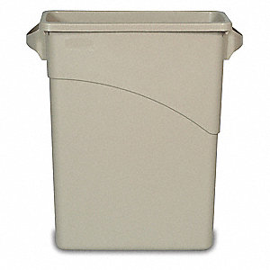 "Slim Jim® 16 gal. Rectangular Open Top Trash Can, 24-7/8""H, Beige"