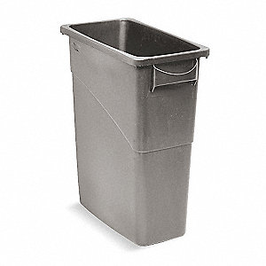 16 gal. Rectangular Gray Trash Can