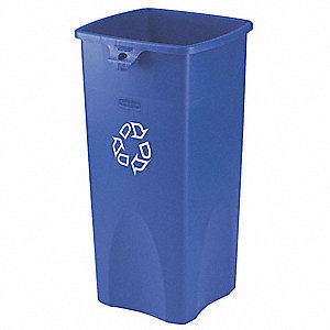 23 gal. Blue Stationary Recycling Container, Open Top