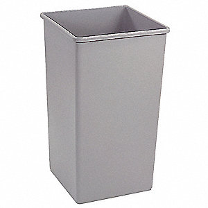 "Untouchable® 35 gal. Square Open Top Utility Trash Can, 27-5/8""H, Gray"