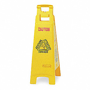 Floor Safety Sign,Caution,Eng/Sp/Fr/Grmn