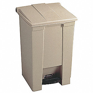 "23 gal. Rectangular Flat Trash Can, 32-1/2""H, Beige"