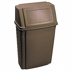 15 gal. Rectangular Brown Fire-Resistant Trash Can