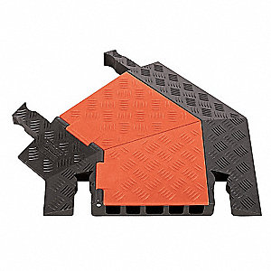 "2 ft.L x 19-3/4""W x 2"" Dog Bone Cable Protector 45° Left Turn, Black and Orange"