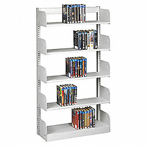"36"" x 10"" x 66"" Single Face Starter Flat Library Shelving with 5 Shelves, Ch/Putty"