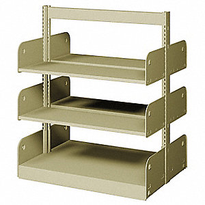 "36"" x 20"" x 42"" Double Face Starter Flat Library Shelving with 6 Shelves, Ch/Putty"