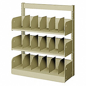 "36"" x 10"" x 42"" Single Face Starter Divider Library Shelving with 3 Shelves, Ch/Putty"