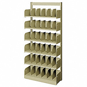"36"" x 12"" x 78"" Single Face Starter Divider Library Shelving with 6 Shelves, Ch/Putty"