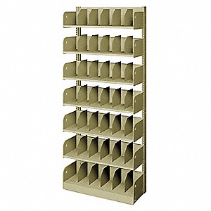 "36"" x 12"" x 84"" Single Face Starter Divider Library Shelving with 7 Shelves, Ch/Putty"