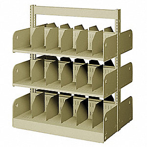 "36"" x 24"" x 42"" Double Face Starter Divider Library Shelving with 6 Shelves, Ch/Putty"
