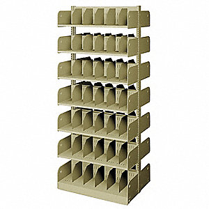 "36"" x 24"" x 84"" Double Face Starter Divider Library Shelving with 14 Shelves, Ch/Putty"