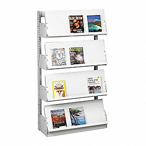 "36"" x 12"" x 84"" Single Face Starter Periodical Display with 5 Shelves, Ch/Putty"