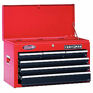 "Red/Black Top Chest, 26"" Width x 12""  Depth x 15-1/4"" Height, Number of Drawers: 6"