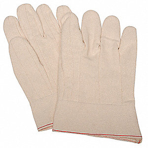 Chore Gloves, Cotton Material, Gauntlet Cuff, Natural, Glove Size: L