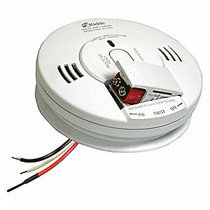 "5-3/4"" Smoke and Carbon Monoxide Alarm with 85dB @ 10 ft., Horn Audible Alert&#x3b; 120VAC, 9V"