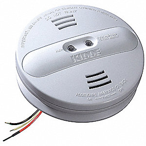 "5-3/4"" Smoke Alarm with 85dB @ 10 ft., Horn Audible Alert&#x3b; 120VAC, 9V"