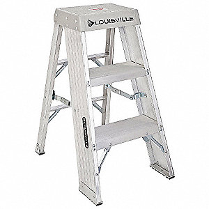 "Aluminum Step Stool, 36"" Overall Height, 300 lb. Load Capacity, Number of Steps 3"