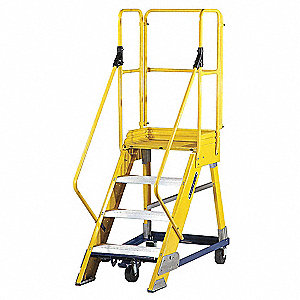 "4-Step Nonconductive Rolling Ladder, Serrated Step Tread, 80"" Overall Height, 300 lb. Load Capacity"