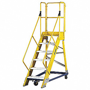 "6-Step Nonconductive Rolling Ladder, Serrated Step Tread, 99"" Overall Height, 300 lb. Load Capacity"