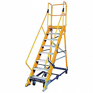 "Nonconductive Rolling Ladder, 118"" Overall Height, 300 lb. Load Capacity, Number of Steps 8"