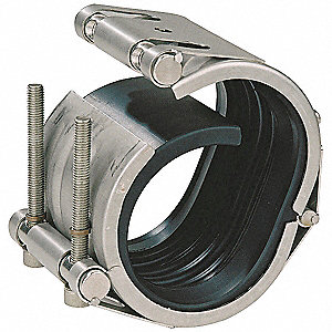 "4-1/5""L 304 Stainless Steel Open Flex Wrap-Around Pipe Coupling, 5"" Pipe Size"