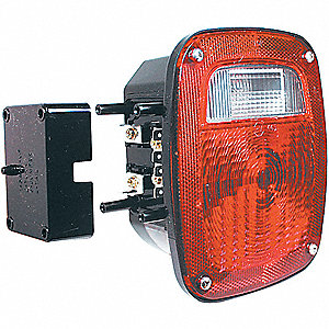 Stop-Turn-Tail Lamp,Rectangle,Red,PK2