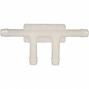 "Barbed Vacuum Connector Tee, 4-Way, Nylon, 3/16"" Barb Size, White"
