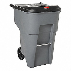"BRUTE® 95 gal. Rectangular Flat Top Roll Out Trash Can, 45-13/32""H, Gray"
