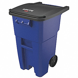 Trash Can,50 gal.,Blue,HDPE