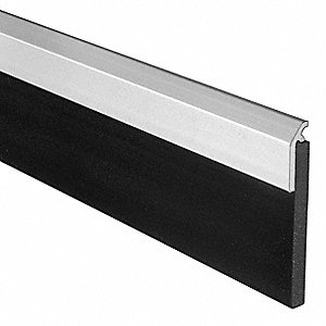 "Single Fin Fire Rated Door Sweep, Anodized Aluminum, 3 ft. Length, 1"" Flange Height, 2"" Insert Size"