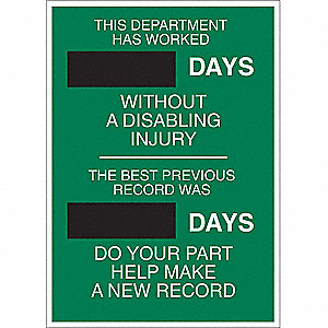 Safety Scoreboard,28 x 20In,ENG