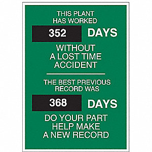 Safety Record Signs,28 x 20In,STL,ENG