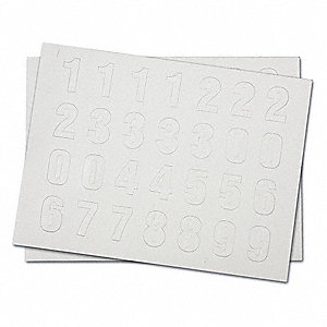 "Magnetic Number Kit, 0 Thru 9, White, 1-1/2"" Character Height, 112 PK"
