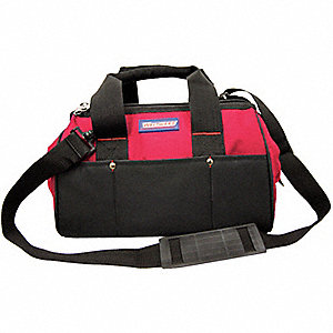 "Polyester Tool Bag, 13"" Width, Number of Pockets: 23, Black/Red"