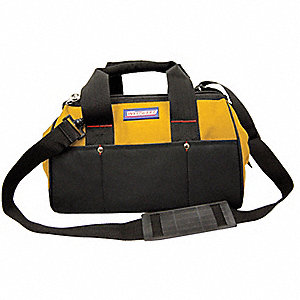 Synthetic Tool Bag, General Purpose, Number of Pockets: 23, Black, Yellow