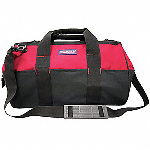 WIDE MOUTH TOOL BAG,22 PKT,RED/BLK
