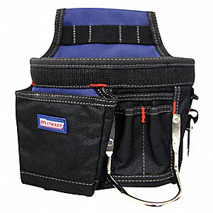 Black/Blue Carpenter's Tool Pouch, Polyester, Number of Pockets: 5