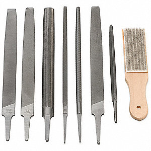 "7"", 10"" American Pattern Machinist File Set with Natural Finish&#x3b; Number of Pieces: 8"