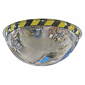 Full Dome Mirror,26 In.,Acrylic Hi Viz