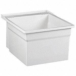 "Wall-Mount Laundry Tub, 20-1/8"" x 17-3/4"" Square Bowl, White"